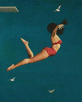 Meisje duikt in de zee met bikini van Jan Keteleer