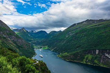 View to the Geirangerfjord in Norway van