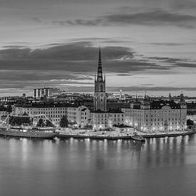 Die Stockholmer Skyline in Schwarz-Weiß von Henk Meijer Photography