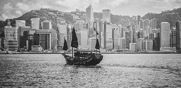 Junk in Victoria Harbour, Hongkong von Patrick Verheij