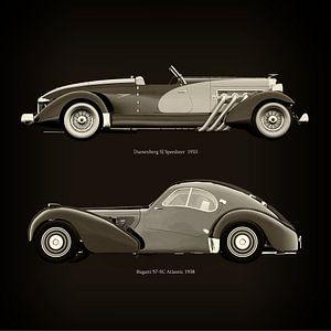 Duesenberg SJ Speedster 1933 en Bugatti 57-SC Atlantic 1938