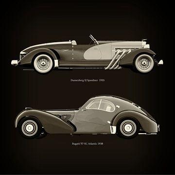 Duesenberg SJ Speedster 1933 en Bugatti 57-SC Atlantic 1938 van Jan Keteleer