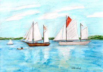 Zeilschepen op de fjord van Sandra Steinke