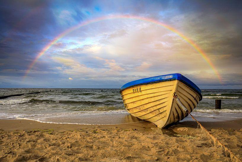 Regenbogen am Ostseestrand von Frank Heldt