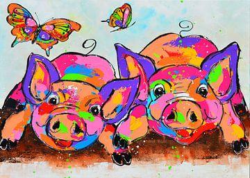 Lustige Schweine von Vrolijk Schilderij