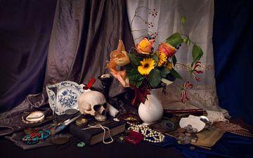 Crâne et fleurs sur Cornelisz van de Beste