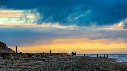 Zonsondergang bij Paal 9 op Texel