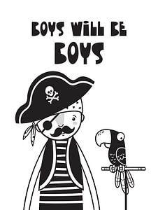 Kinderkamer Zwart Wit - Sea Adventure Boys Will Be Boys