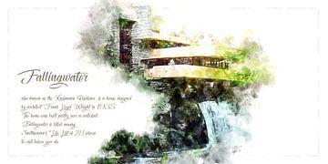 Fallingwater, Aquarell, Frank Lloyd Wright, Querformat von Theodor Decker
