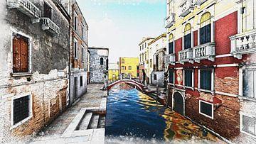 venice kanal digi Aquarel  2 van H.m. Soetens