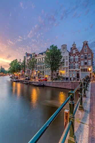 Zonsondergang bij de Prinsengracht in Amsterdam