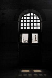 Zicht op de Blauwe Moskee vanuit de Aya Sophia in Istanbul