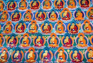Muurschildering met boeddha's in Tibetaans klooster van