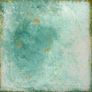 Abstract turquoise, roest textuur van Joske Kempink