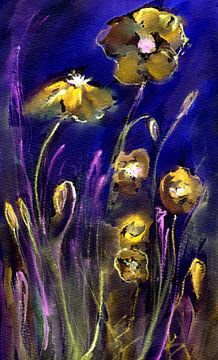 blue Poppies - Stillleben mit Mohnblumen von Claudia Gründler