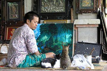 Kunstschilder in Ubud, Bali van Arie Storm