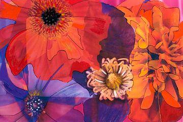 Mixed media met verschillende bloemen in rood,oranje en paars van Therese Brals
