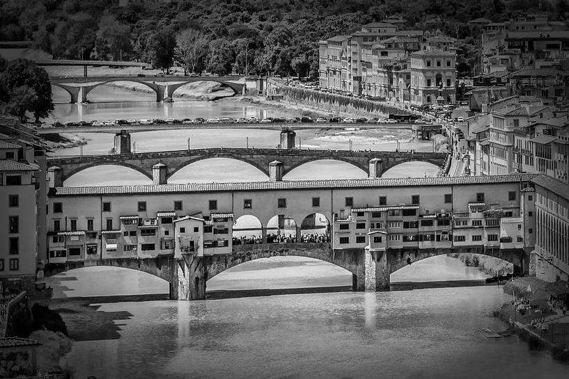 FLORENCE Ponte Vecchio | Monochrome van Melanie Viola