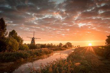 Sonnenaufgang mit Mühle von Cynthia Verbruggen