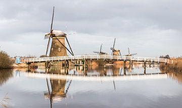 Die schönen Windmühlen von Kinderdijk im Winter. von Claudio Duarte
