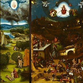 Het Laatste Oordeel (volledig 3 luik / triptiek) - Schilderij naar Jheronimus Bosch - Jeroen Bosch van Schilderijen Nu