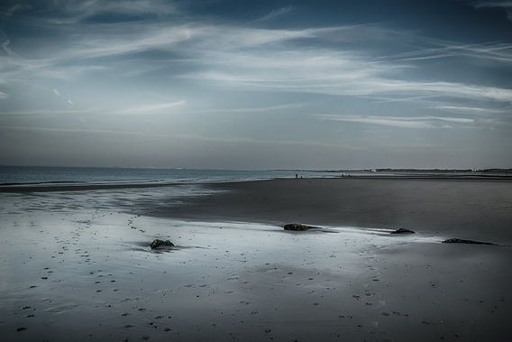 Strand Zeeland na zonsondergang