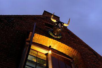 Bovenzijde gevel Kleine Vleeshal aan de Lange Nieuwstraat in Utrecht sur Donker Utrecht