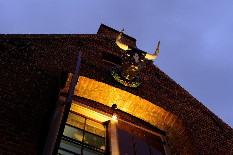 Bovenzijde gevel Kleine Vleeshal aan de Lange Nieuwstraat in Utrecht van Donker Utrecht