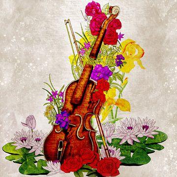 Gebroken viool vol met bloemen van Patricia Piotrak