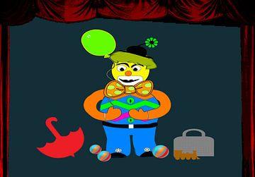 Kinderzimmerbild  -  Clown auf der Bühne van Rosi Lorz