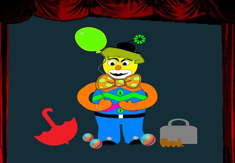 Kinderzimmerbild  -  Clown auf der Bühne von Roswitha Lorz