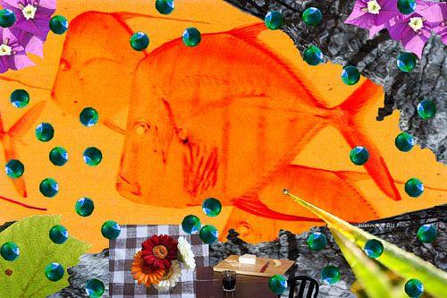 Nature morte avec les poissons rouges