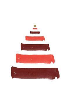 Kerstboom Brush Strokes - Kerst Print