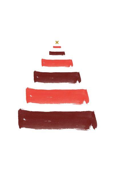 Weihnachtsbaum-Pinselstriche - Weihnachtsdruck von MDRN HOME