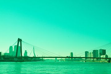 Rotterdam - Willemsbrug en omgeving - in groen tinten van Ineke Duijzer