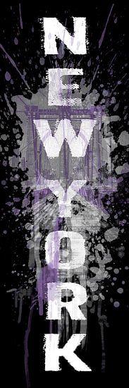 POP ART Brooklyn Bridge | paars van Melanie Viola