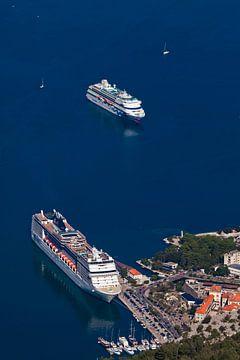 zwei riesige Kreuzfahrtschiffe in der Hafenansicht aus großer Höhe, blaues Wasser - coole Kreuzfahrt von Michael Semenov