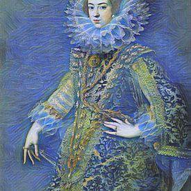 Sternennacht mit Königin Elisabeth von Bourbon von Slimme Kunst.nl