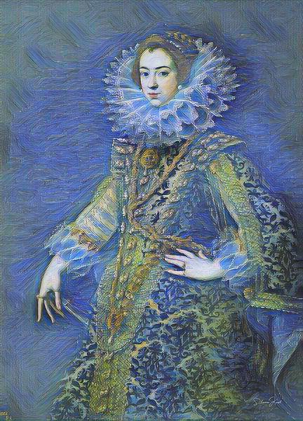Sterrennacht met Koningin Elizabeth van Bourbon van Slimme Kunst.nl