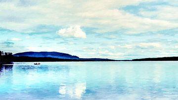 Vissers op een Boot op een meer tussen Bos en Bergen - Schilderij van Schildersatelier van der Ven
