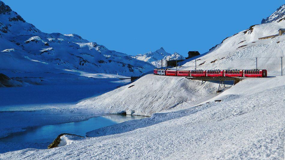 Trein in Winters Berglandschap