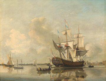 The Navy's Frigate 'Rotterdam' on the Maas off Rotterdam, Nicolaas Baur sur