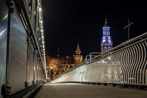 Nieuwe Toren en oude raadhuis vanaf de Stadsbrug in Kampen