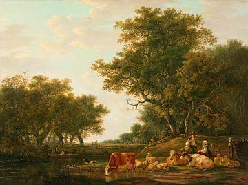 Landschaft mit Bauern mit ihren Rindern und Anglern am Wasser, Jacob van Strij