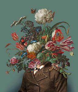 Porträt eines Mannes mit einem Blumenstrauss (grün-grau / rechteckig)
