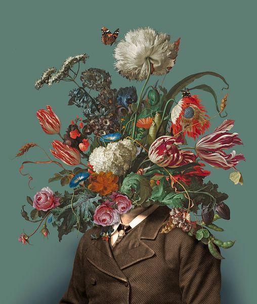 Portret van een man met een boeket bloemen (groengrijs / rechthoekig) van toon joosen