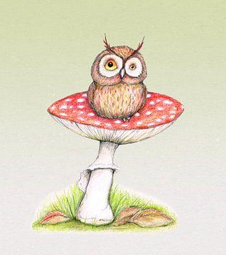 Uiltje op een paddenstoel