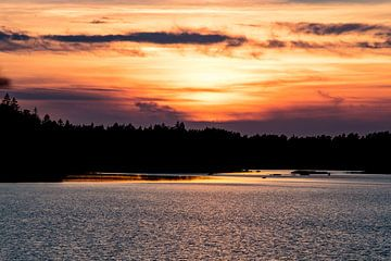Zonsondergang in Zweden van Lenslicht Fotografie