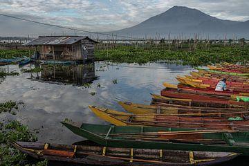 De kleurrijke vissersboten aan de oever van het Rawapening meer in Midden Java van Anges van der Logt