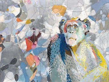 Abstracte chimpansee, Danhui Nai van Wild Apple